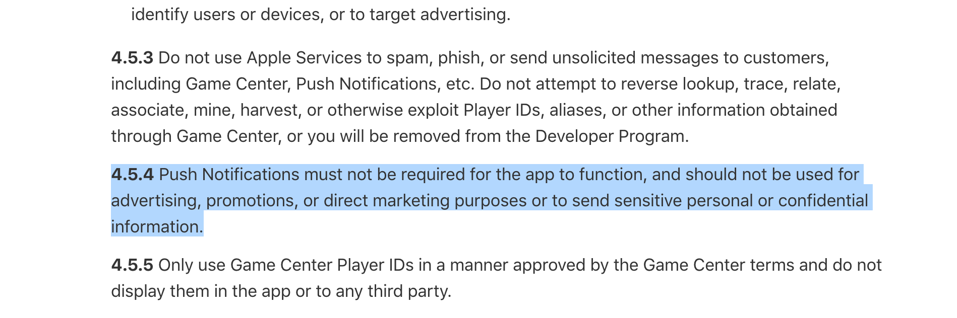 Apple App Store Review Guidelines on notification spam