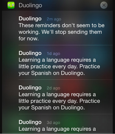 Duolingo stops sending push notifications if you ignore them